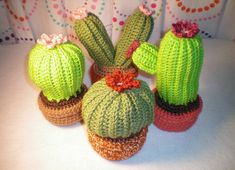 Crochet cactuses - with free pattern!  Find here: http://elfluvsdwarf.blogspot.co.uk/2010/07/crochet-cactus-garden-free-pattern.html