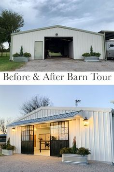 Metal Buildings Discover Before & After: A Black & White Barn Transformation in Texas - STABLE STYLE A beautiful black and white barn renovation in Texas. This horse barn went from drab to fab with a lot of hard work and a handful of personal touches. Metal Building Homes, Metal Homes, Building A House, Morton Building, Building Design, Architecture Renovation, Barn Renovation, Shop Buildings, Metal Buildings