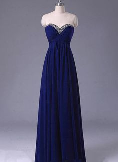 Long Evening Dress,Chiffon Evening Dresses,Sweetheart Neck Blue Prom