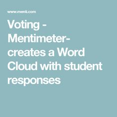 Voting - Mentimeter- creates a Word Cloud with student responses