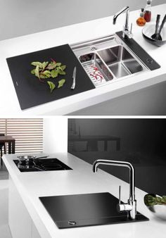 enclosed kitchen sinks with movable cutting boards and retractable faucets new from blanco - Blanco Kitchen Sinks
