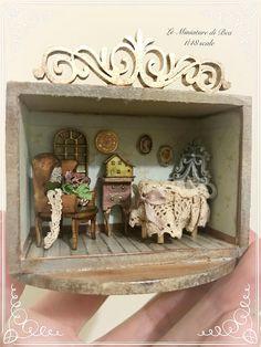 1/48 roombox victoriana con muebles y accesorios de bebé