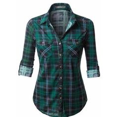 (pre-order) Hunter Green Plaid Button Down Shirt ($28) ❤ liked on Polyvore featuring tops, blue button up shirt, sleeve shirt, plaid top, loose shirt and button up shirts
