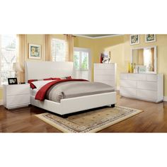 Furniture of America Tamera 4-piece White Platform Bedroom Set - Overstock™ Shopping - Big Discounts on Furniture of America Bedroom Sets