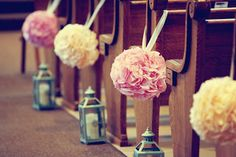 Poms and Lanterns....Perfect for my dads church. Aisle decor....done! Check out the website to see more