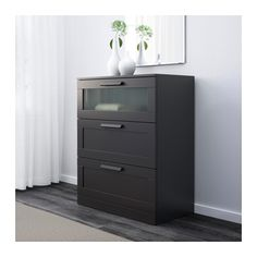 BRIMNES 3-drawer chest, black, frosted glass black/frosted glass 30 3/4x37 3/8