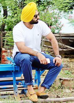 mensfashion menswear street style mens urban sardar turban Sikh Singh  yellow summer loafers bluechinos