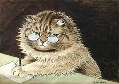CAT AT WORK WITH GLASSES By Louis Wain Medium: Ink and watercolour Signed