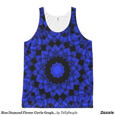 Blue Diamond Flower Circle Graphic Pattern Yoga