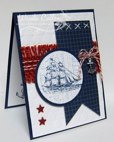 "The Open Sea  by cullenwr on SCS  STAMPS:The Open Sea by SU  PAPER: Night of Navy, White, SU DP from a 6x6"" pack  INK: Night of Navy, Bashful Blue  ACCESSORIES: Large dotted EF, Large flag die by Lil Inker Designs (each side trimmed by 1/8""), Circle Nesties, Baker's twine, Anchor charm (Michael's-in jewelry section), Star brads, Burlap trim from Funkie Junkie."