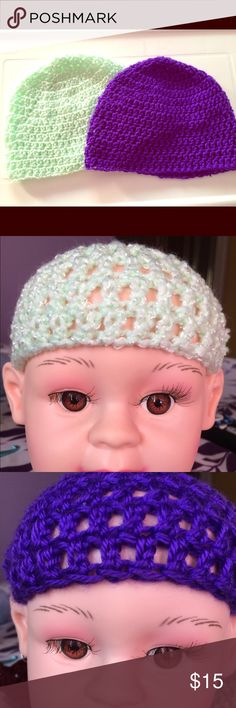 "❣❣ 2 Crochet Child's beanie 1 mint  & 1 purple These classic  beanie matches everything. Whether you're looking for a nice neutral hat for everyday wear or your little one likes to show a little attitude. Newborn baby head circumference, 13″ – 14″, Hat height = 5.5 to 6″ Baby 3 to 6 months, Head Cir, 14″ – 17 "", Hat height= 6.5 – 7″ baby 6-12 months, 16″-19″ head cir., hat length=6.5-7″ toddler-preschooler (12 months-3 yrs), 18″-20″ head cir., hat length=7″ Handmade Accessories Hats"