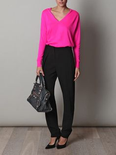 Balenciaga pants with cashmere knit - easy stylish work look