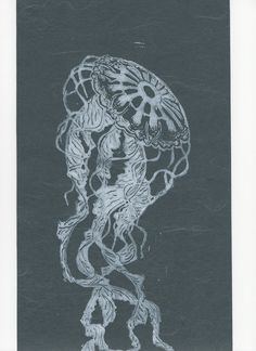 Jellyfish Linocut on Japanese Paper by minouette on Etsy, $30.00
