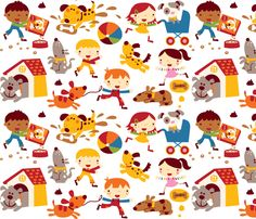 Dog fun! by Bora from spoonflower