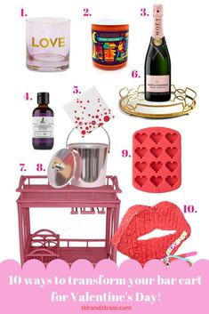 Sorry, we're going full throttle hot pink and hearts this year for Valentine's Day. First, yes reader, you really can have a pink bar cart. And vintage i… Valentine's Day Drinks, Pink Drinks, Pink Bar, Bar Cart Styling, Vintage Bar, Cocktail Making, Bar Accessories, Cool Bars, Bars For Home