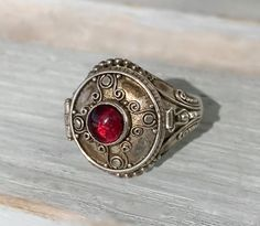 Authentic Vintage Sterling Silver Garnet Poison Ring Prayer Box Secret Compartment Ring Size 8.25 Valentine's Day Gift For Her by AdornedInHistory on Etsy