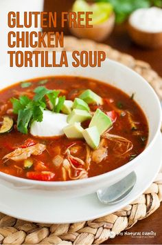 Gluten Free Chicken Tortilla Soup Recipe - cook the main part of the soup in your crock pot and then add in roasted veggies at the end so your veggies are full of flavor and not all soggy and flavorless.