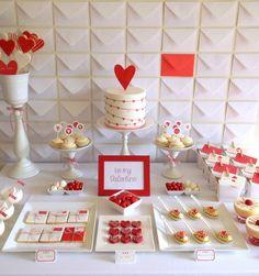 Valentine's Day backdrop made of envelops