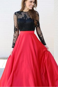 prom dress, 2018 prom dress, long sleeves prom dress, black and red prom dress, formal evening dress, party dress
