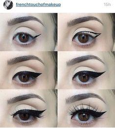 How to apply eyeliner Know about trendy eye makeup - Pretty Eye Makeup, Perfect Makeup, Makeup Looks, Makeup For Big Eyes, Simple Makeup, Natural Makeup, Make Up Tutorial Contouring, Makeup Tutorial Eyeliner, Brow Tutorial