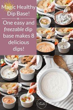 This magic healthy dip base gives you endless add-in options for making any delicious dip that you dream up! It's also gluten-free, quick and easy to make, and you can keep portions in your freezer for last-minute snacking! #21dayfix #UPF #weightwatchers #snacking #holiday #christmas #thanksgiving #gameday #healthygameday #glutenfree #kidfriendly #ww #healthy #healthysnack #weightloss Healthy Crab Cakes, Healthy Spinach Dip, Healthy Dips, Healthy Appetizers, Healthy Eating, Healthy Recipes, Skinny Recipes, Dip Recipes, Whole Food Recipes