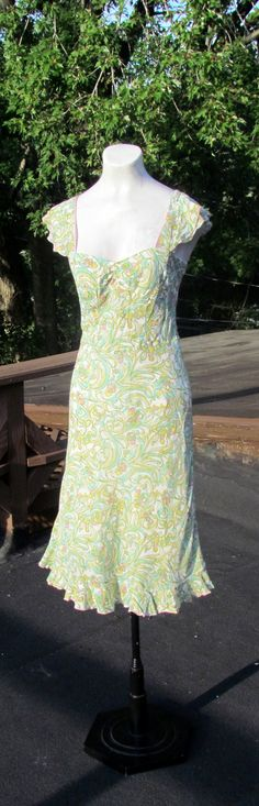 Lovely ART NOUVEAU Ruffled WIGGLE Cocktail by BeauMondeVintage, $38.00