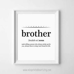 Brother Gift Ideas Definition Print For By NicoPrintableArt