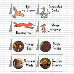 Printable Gruffalo Tents by KabooStudio on Etsy Leo Birthday, Second Birthday Ideas, Twin First Birthday, 4th Birthday Parties, Gruffalo Activities, Gruffalo Party, World Book Day Ideas, Party Food Labels, Childrens Party