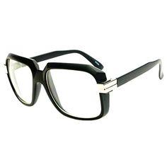 Legendary RUN DMC Cazal Style Gazelle Retro Square Clear Lens Eye Glasses (Matte Black)