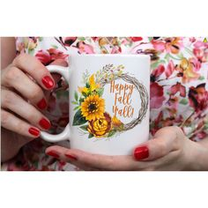 Happy Fall Y'all Autumn Mug Fall Mug Autumn Wreath 11 Oz White Mug ($12) ❤ liked on Polyvore featuring home, kitchen & dining, drinkware, drink & barware, grey, home & living, mugs, grey mugs, white mug and coloured mugs