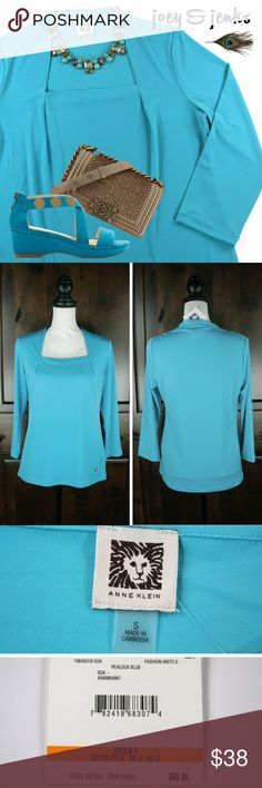 """🇺🇸SALE🇺🇸  NWT Anne Klein Peacock Blue Blouse Beautiful top that reeks class. NWT, Retail $69.00. Fabric is lightweight, stretchy and hangs beautifully. Pleated at top, which gives extra room through the bust. ● Size Small. Length 26"""", Bust 18"""" laid flat, plus it's pleated for extra room.  Seems to run big.  My dress form is Medium and it fits perfectly. ● 96% Poly, 4% Spandex.  Machine wash cold, tumble dry low. ● Bundle 2 or more items for 15%. Free shipping for orders over $200…"""