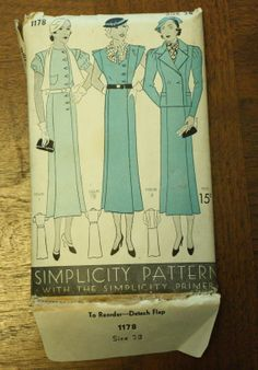 Vintage Simplicity 1178 Sewing Pattern 1930s by EleanorMeriwether, $38.00