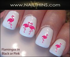 Pink Flamingo Nail Decals nail art designs by by NAILTHINS on Etsy