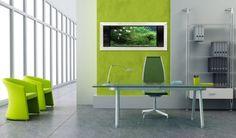 une bureau à domicile avec des accents verts