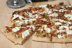 pizza with brussels sprouts, bacon, and goat cheese.  had a similar pizza at CPK & loved it!