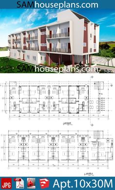 Apartment Plans with 18 Units - Sam House Plans Apartment Plans with 18 UnitsThe House has:-Car Parking and garden-Living room,-Dining Bedrooms units Bed units Small Apartment Plans, Studio Apartment Floor Plans, Bedroom Floor Plans, Town House Floor Plan, Small House Floor Plans, Open House, Plan Hotel, Hotel Floor Plan, Plan Autocad