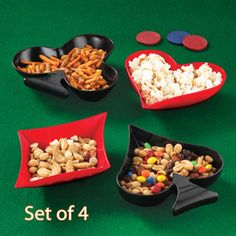 4 pc casino party poker Playing card spade candy beer nut serving dish dip bowl