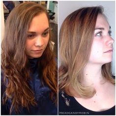 ✂️❤️ MAJOR transformation by Robin! This adorable client wanted fresh new hair to go along with her new start in a new State! ❤️✂️ #salonheadcandy #beforeandafter #longtoshort #lobhaircut #balayagehighlights