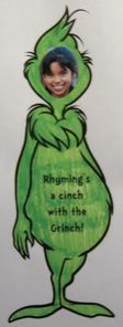 "Dr. Seuss activities: FREE ""Rhyming's a cinch with the Grinch"" craftivity.  This is what a finished front looks like."