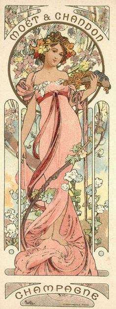 "Alphonse Mucha (Czech, 1860 - 1939). Poster for Moet & Chandon: Champagne White Star"", 1899. Color Lithograph, 60 x 20 cm."