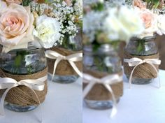 thinking lots of random sized jars and mason jars with twine and old lace...