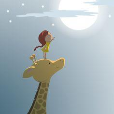Avondster: illustratie meisje met giraf en maan - Avondster: illustration girl with giraffe and moon