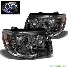 Smoked 2005-2011 Toyota Tacoma Halo LED Projector Headlights Smoke Head Lights Pair Left+Right 2006 2007 2008 2009 2010