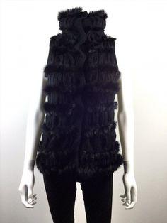 178.19$  Buy here - http://vifds.justgood.pw/vig/item.php?t=igpu5812139 - DIANE VON FURSTENBERG DVF Black Rabbit Fur Sleeveless Alcina Sweater Vest Snap 178.19$
