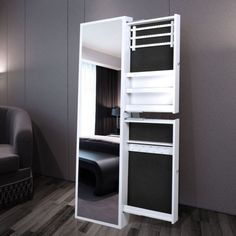 White Jewellery Cabinet with Mirror and 2 Drawers   Buy Mirror Jewellery…