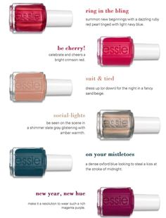 Just in time for the holiday season, Essie introduces its new nail polish collection Just in time for the holiday season. Holiday Nail Colors, Holiday Nails, Seasonal Nails, Christmas Nails, Autumn Nails, Winter Nails, Hot Nails, Hair And Nails, Essie Nail Polish Colors