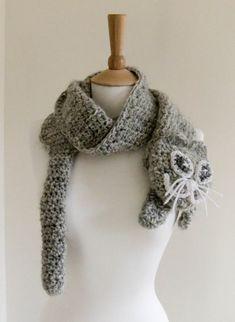 Crochet Free Cat Projects   PDF CROCHET PATTERN Scarf Kitty cute cat grey gray neck warmer Neck ...