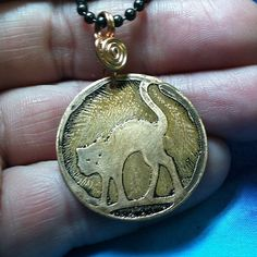 spooked cat copper etched handmade OOAK pendant with by MKPjewelry, $20.00