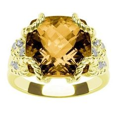 14k Yellow Gold Madeira Citrine and Diamond Ring by Duneier of NY, Size 7 (Jewelry)  http://www.1-in-30.com/crt.php?p=B000VCHNGG  B000VCHNGG