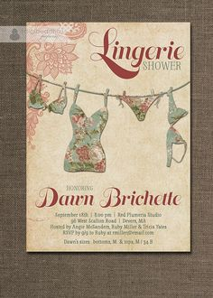 Lingerie Shower Invitation Lace Pink Green Red Shabby Chic Rustic Bridal Personal Shower Invitation DIY Digital or Printed - Dawn Style on Etsy, $20.00